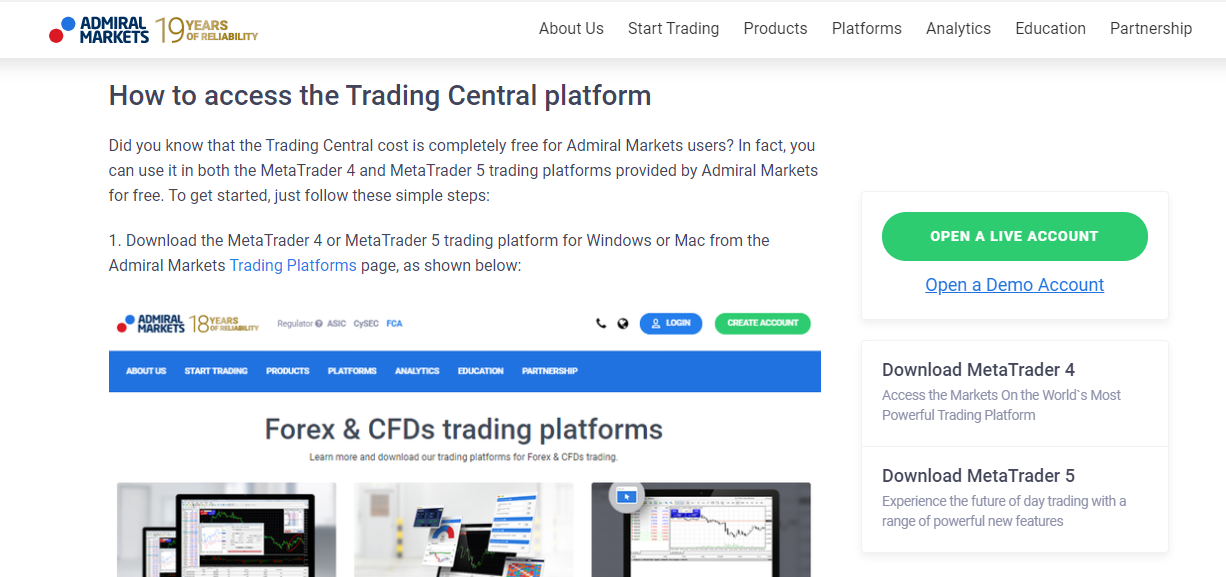 Admiral Markets Trading Central