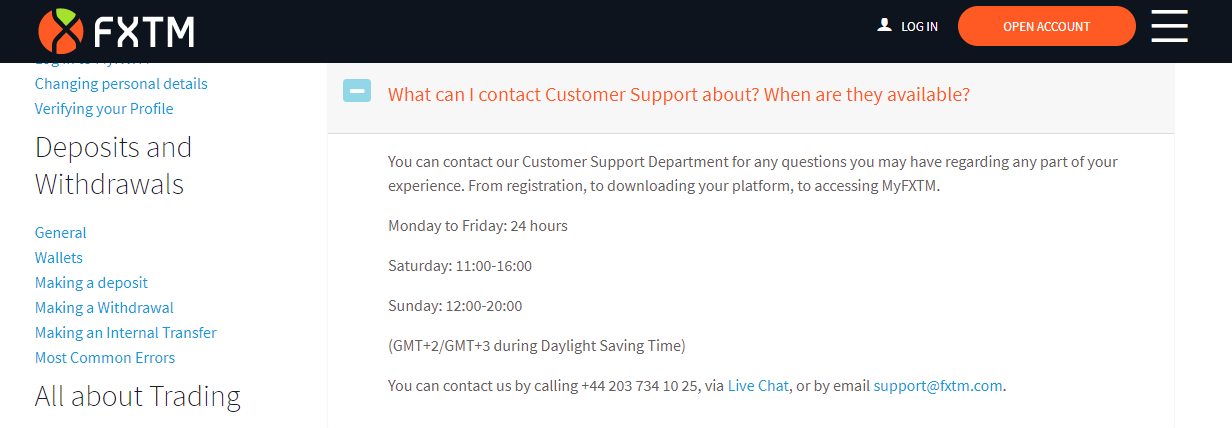 FXTM Customer Service Hours